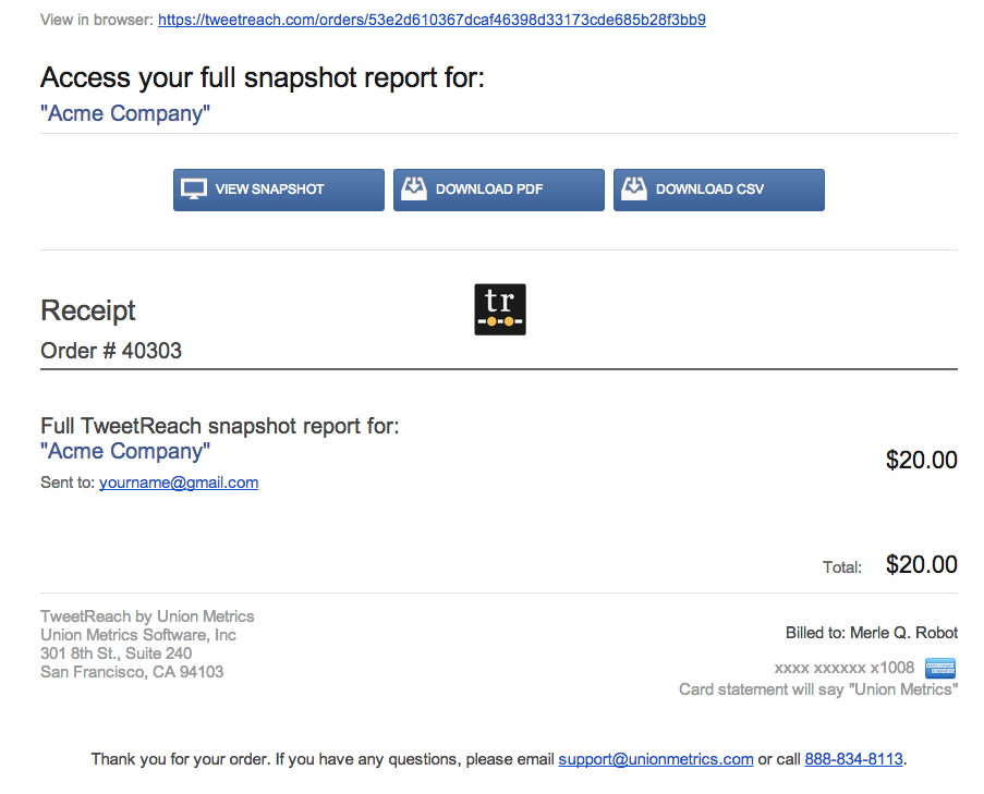 tweetreach tip snapshot report receipts union metrics