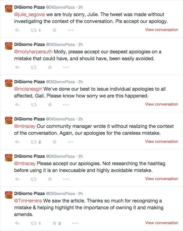 DiGiorno individual apologies