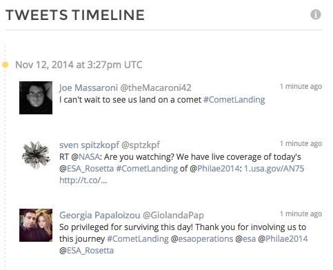 #cometlanding tweets timeline day 1