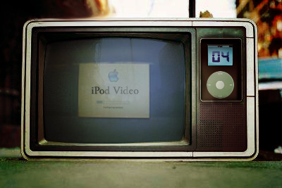 Putting a first generation iPod on a really old television is not a recommended video hosting platform. Image via Alexandre van de sande on Flickr; used with Creative Commons license.