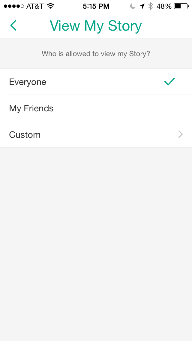 Snapchat Story Settings for Brand