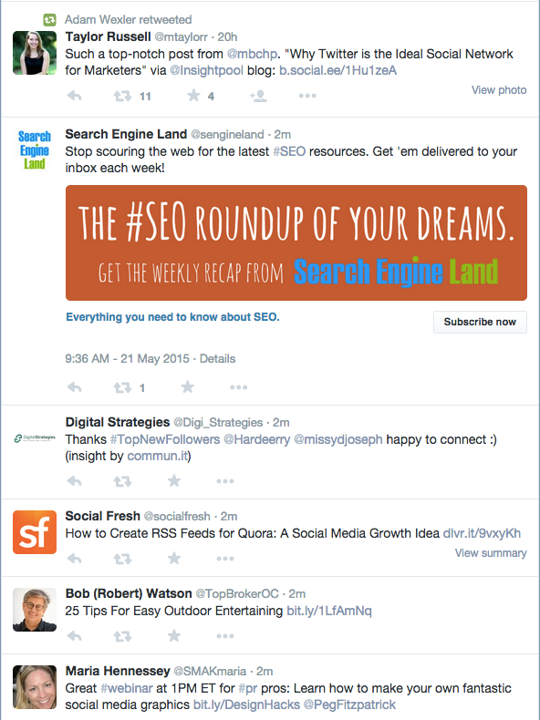 An example of our own @tweetreachapp Twitter timeline on desktop