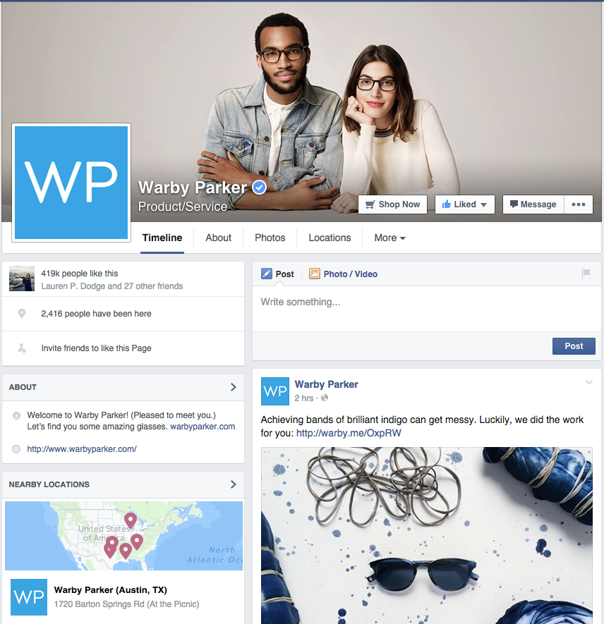 Warby Parker FB content tips
