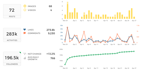 instagram analytics - beautiful reporting